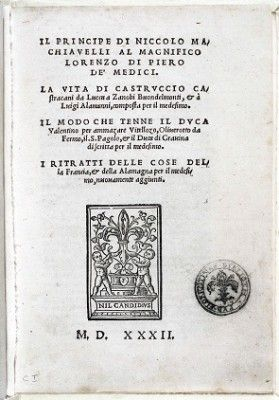 The first Edition of Il Principe by Machiavelli