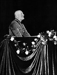 Last public speech of Mussolini at the Liric Theatre in Milan during the Ardennes offensive. In it he was sending cryptic messages to Winston Churchill.