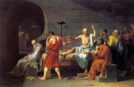 Hardly the death of a CEO. Socrates drinks the poison. Jan Louis David (1787)