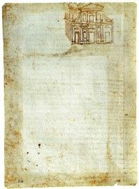 Complete sketch kept at Gallerie dell'Accademia, Venice. Ref. 238 versus (213 X 152 mm.).  The words are discussions on gravity and weights. The recto of the page is also a study on the same subjects. The Basilica seems to have been added years later by Leonardo, finding an empty space on the page.