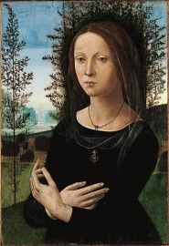 The real Ginevra de Benci in mourning arttire, the Juniper is behind her. This picture is by Lorenzo di Credi.